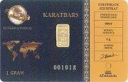 Karatbars International one gram 999.9 24K Gold Bullion - embedded in a plastic card the size of a credit card. . Affordable transaction friendly weights.. Karatbars International is bringing Gold to the Middle Class as well as too the World