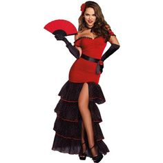 Womens Flamenco Costume ($45) ❤ liked on Polyvore featuring costumes, costume, halloween costumes, party halloween costumes, ladies halloween costumes, polka dot costume, holiday costumes and ladies costumes