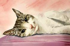 Watercolour painting cute kitten by artist Giulia Gatti Watercolor And Ink, Watercolour Painting, Watercolors, Kittens Cutest, Bald Eagle, Cats, Gallery, Drawings, Artist