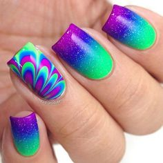 99 Gorgeous Water Marble Nail Art Designs Ideas Youll Want To Try This Season Water marbling is becoming a hot trend these days in the world of nail art. Cute Nail Art, Cute Nails, Pretty Nails, Fancy Nail Art, Funky Nails, Simple Nail Art Designs, Cute Nail Designs, Rainbow Nail Art Designs, Bright Nail Designs