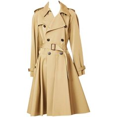 Preowned Jean Paul Gaultier (19.010 ARS) ❤ liked on Polyvore featuring outerwear, coats, jackets, tops, multiple, beige trench coat, beige coat, double breasted belted coat, jean-paul gaultier and trench coat