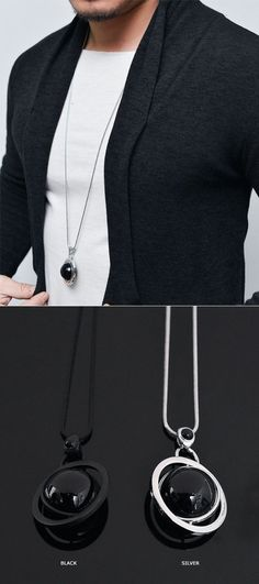 Accessories :: Unique Spinning Circle Space-Necklace 180 - Mens Fashion Clothing For An Attractive Guy Look
