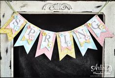 Spring Projects, Spring Crafts, Holiday Crafts, Paper Banners, Pennant Banners, Paper Bunting, Spring Banner, Diy Banner, Bunting Garland