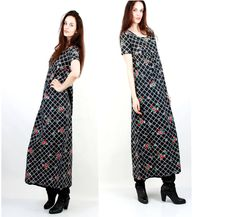 Vintage PregnancyDress / Long Floral Dress / Maxi Dress / Black Plaid Dress / Wide Dress / Vintage Dress Size M by Ramaci on Etsy