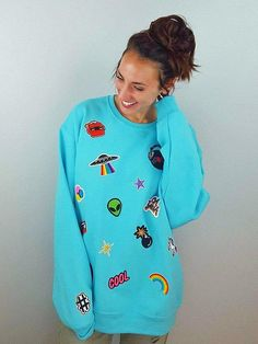Throwback Electric Blue Sweatshirt, Jumper, Patch Sweatshirt, Patch Sweater, Gift For Her, Teen Gift, 80s Party, 90s, Costume, Size Small
