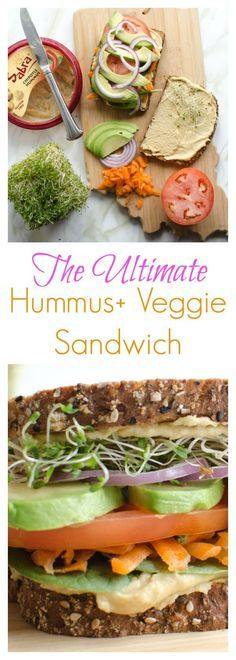 The Ultimate Hummus The Ultimate Hummus and Veggie Sandwich (healthy easy meatless recipe!) http://ift.tt/2ijNwFF