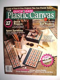 Quick & Easy Plastic Canvas Magazine Aug/Sept 1994 - 27 Projects - Sport Favorites, Kid Pleasers, Cats in the Window, Pheasant Desk Plastic Canvas Crafts, Plastic Canvas Patterns, How To Make Box, Desk Set, Project Yourself, Picture Design, Projects For Kids, Etsy Seller, Easy