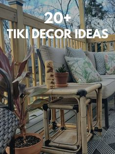 Over 20 tiki décor ideas for decks, patios, bars, and more! Fans of tiki culture and Disney's Enchanted Tiki Room are sure to find Polynesian décor that will fit their home. Tiki Decor Outdoor | Tiki Decorations | Tiki Deck Ideas | Tiki Patio Ideas | Tiki Decor Living Room | Polynesian Decor | Hawaiian Decor