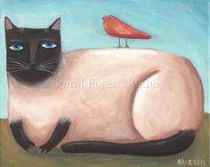 Siamese Cat Art Print - 8 x 10 - Cat Folk Art - Cat and Bird Print.  Arleigh
