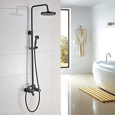 Rozin Bath Rainfall Shower Faucet Set Tub Tap with Handheld Spray Oil Rubbed Bronze