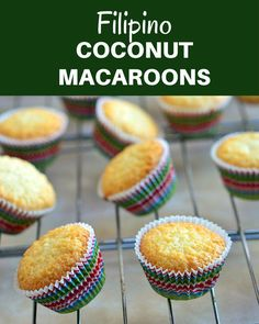 Filipino coconut macaroons are your new favorite baked treat! Soft, chewy and chock-full of coconut flavor, these mini cupcakes absolutely addicting. The Effective Pictures We Offer You About Filipino Filipino Dishes, Filipino Desserts, Filipino Recipes, Filipino Food, Cuban Recipes, Chamorro Recipes, French Recipes, Macaroon Recipes, Cupcake Recipes