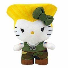 "*NEW* Hello Kitty Street Fighter Guile 6"" Mini Plush"