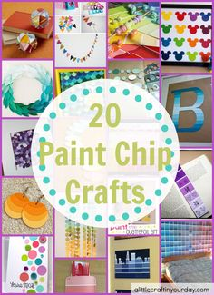 I love paint chips; they're so fun to create with! Make a wall out of them, create lamps or earrings. Create simple things like bookmarks or garland with them – there are so many possibilities with these 20 Paint Chip Crafts! Crafts For Teens, Crafts To Do, Crafts For Kids, Paper Crafts, Kids Diy, Preschool Crafts, Paint Chip Cards, Paint Sample Cards, Paint Samples