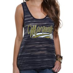 Marquette Golden Eagles Women's Potent Burnout Stripe Tank Top - Navy Blue - $14.99