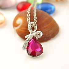 Unique Jewelry - New Girl's Women's Rhinestone Chain Crystal Necklace Pendant rose red