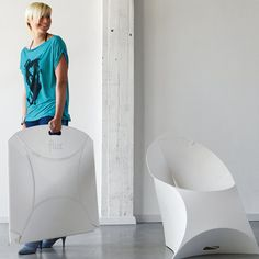 Flux folding chair.  Really neat looking.  Folds flat.  Available in a variety of cool colors.