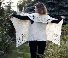 Unique felted vest natural white wool vest with fancy by filcAlki