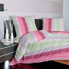 Janine Seersucker Bettwäsche Tango 2454-01 mit Reißverschluss. Mit ihren frischen Farben ist die gekräuselte Bettwäsche genau das Richtige für den Sommer. www.bettwaren-shop.de