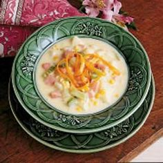 Cheddar Ham Chowder - water, potatoes, carrots, celery, onion, salt and pepper, butter, flour, milk, sharp cheddar cheese, corn, cooked ham