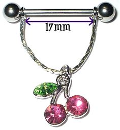 2-Nipple-Dangle-Shield-Ring-CHERRIES-Pink-Gem-CZs ... Limited quantity .. Today only 26/9/15 - $5.90 with FREE Australia Wide Post .. a saving of $3 for the pair!!