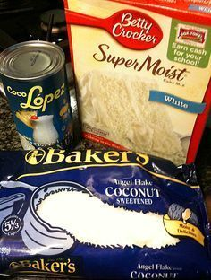 Coconut cake just got easier. Make a sheet cake instead of a layer cake for a dessert that's as easy as it is delicious. Top with cream cheese icing Cake Mix Recipes, Snack Recipes, Dessert Recipes, Cooking Recipes, Snacks, Cake Mixes, Vegan Recipes, Food Cakes, Cupcake Cakes