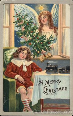 A Merry Christmas Angels Publisher:S. Langsdorf & Co. Type: Divided Back Postmark/Cancel: 1909  Topeka, KS