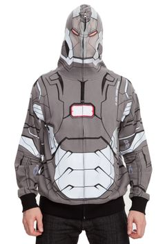 Allover War Machine hoodie allows you to fully zip up the hood to cover your face. Features mesh face panel!