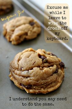 My Favorite Puffy, Chewy Peanut Butter Chocolate Chip Cookies - Wallflour Girl - Yummy Recipes Cookie Desserts, Just Desserts, Delicious Desserts, Yummy Treats, Dessert Recipes, Sweet Treats, Cake Recipes, Dessert Food, Cookie Bars