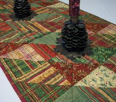 Christmas Table Runner Triangles Plaids Red by atthebrightspot