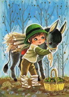 Vintage  Postcard 70s   big green eye boy  and a donkey