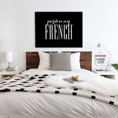 Pardon my French Black Typography Poster Home by PrintablePixel