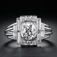 Carat Art Deco Platinum and Diamond Engagement Ring - GIA: J A fabulous, one-of-a-kind, original high-Art Deco diamond ring, hand crafted in platinum, circa showcasing a dazzling carat antique cushion-cut diamond. Bijoux Art Deco, Art Deco Jewelry, Fine Jewelry, Jewelry Design, Cushion Cut Diamond Ring, Cushion Cut Diamonds, Diamond Cuts, Antique Jewelry, Vintage Jewelry