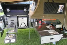 lightweight off-road camper trailer kitchen u-shaped layout