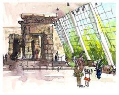 Temple of Dendur at the Met. New York, New York. watercolor, pen and ink sketch