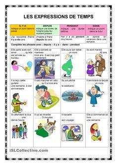 Les expressions de temps fiche d'exercices - Fiches pédagogiques gratuites FLE