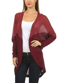 Another great find on #zulily! Burgundy Open Cardigan by Le Lis Collection #zulilyfinds