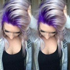 Formula For This Gorg Purple To Platinum Melt Stylist Selfie! Formula For This Gorg Purple To Platinum Melt Love Hair, Great Hair, Gorgeous Hair, Dye My Hair, New Hair, Hair Today, Hair Dos, Pretty Hairstyles, Updo Hairstyle