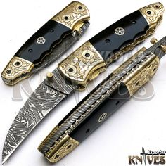 Andy Alm New Custom Made Damascus Steel Folding Pocket Knife Horn Handle F134 #AndyAlm