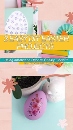 Create 3 easy Easter projects using Decoart Chalky Finish Paint. From a colorful Easter basket to a simple tattoo Easter egg and an Easter egg sign that is perfect for a mantle or shelf. You'll be ready for Easter in a snap!...