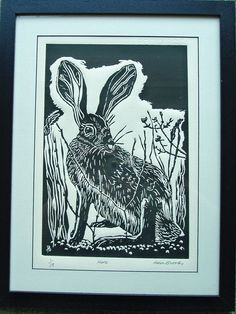 Hare - lino print. By SilkenTentPrints via Etsy.