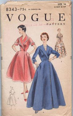 Handbags Size 16 Misses' Dress Pattern - Wrap Dress With Flared Skirt - Calf Length or Floor Length Dre - 1950s Dress Patterns, Dress Sewing Patterns, Vintage Sewing Patterns, Clothing Patterns, Wrap Dress Patterns, Sewing Ideas, 1950s Fashion, Vintage Fashion, Vintage Style