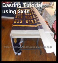 Learned this on Sharon Schambers site, it works GREAT for hand basting, no more sore knees, dogs walking on your project and no sore backs! HIGHLY RECOMMEND ITKatie's Quilts and Crafts: Basting - Photo Tutorial