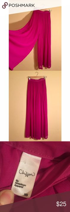 Wide, Pleated Chiffon American Apparel Pants High-waisted, super wide legged and pleated chiffon pants from American Apparel. Has the appearance of a skirt until you're in motion, super beautiful when you walk. This material is semi transparent, so you would need to be comfortable wearing a nude bodysuit or undies underneath (or tights/leggings). Size XS. American Apparel Pants Wide Leg