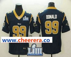 7c5d930e Men's Los Angeles Rams #99 Aaron Donald Navy Blue 2019 Super Bowl LIII  Patch Vapor Untouchable Stitched NFL Nike Limited Jersey