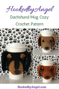 "Because what #dachshund lover doesn't want their dog on their mug?! This pattern includes lots of pictures and ""Angel's Tips"" to make it easy to make. You will never have so much fun crocheting."