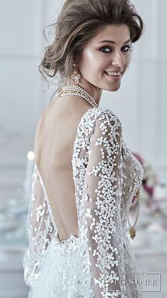 maison signore 2018 bridal long sleeves v neck full embellishment elegant a  line wedding dress open back sweep train (drusilla) zbv  -- Maison Signore's Stunning 2018 Wedding Dresses