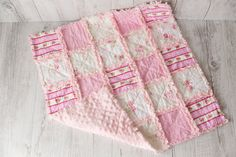 Shabby Chic rag quilt photo prop playmat stroller by Littleboppins