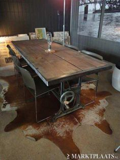 Love this dining table - industrial
