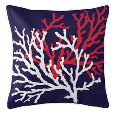 Add a splash of under the sea beauty in perfectly beachy colors with this Royal Blue Coral Duo Beach Cottage Pillow with its' pretty sea coral images in aqua and white scattered across a blue background. Beach Cottage Style, Beach House Decor, Beach Condo, Coastal Cottage, Coastal Living, Cottage Chic, Fish Pillow, Coral Pillows, Accent Pillows