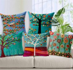 cushion cover chair pillow cover coussin decorative cojines almofadas para sofa throw pillows trees cushions home decor Printed Cushions, Throw Cushions, Decorative Cushions, Decorative Pillow Covers, Throw Pillow Covers, Sofa Throw, Pillow Cases, Seat Cushions, Floral Cushions